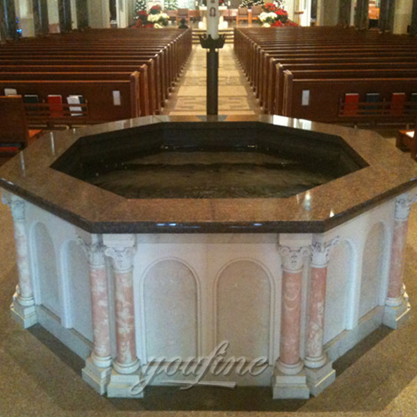 Religious statues of large marble holy water font for church interior decor
