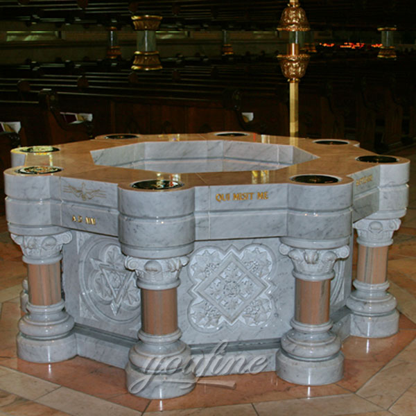 Religious statues of large marble water font for sale