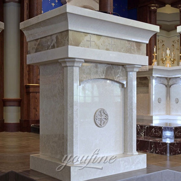 Religious statues of modern marble pulpit for church decor