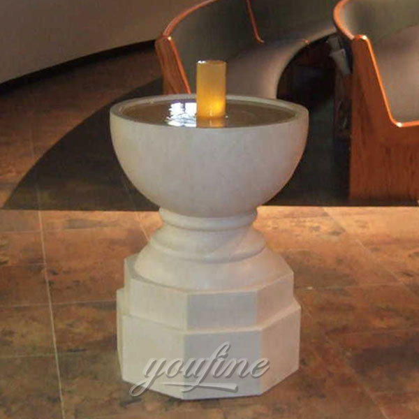 Religious statues of small marble water font for church decor