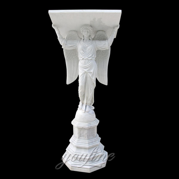 Religious statues of white marble altar with angel statues decor for sale
