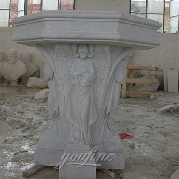 Religious statues of white marble font with woman decor for sale