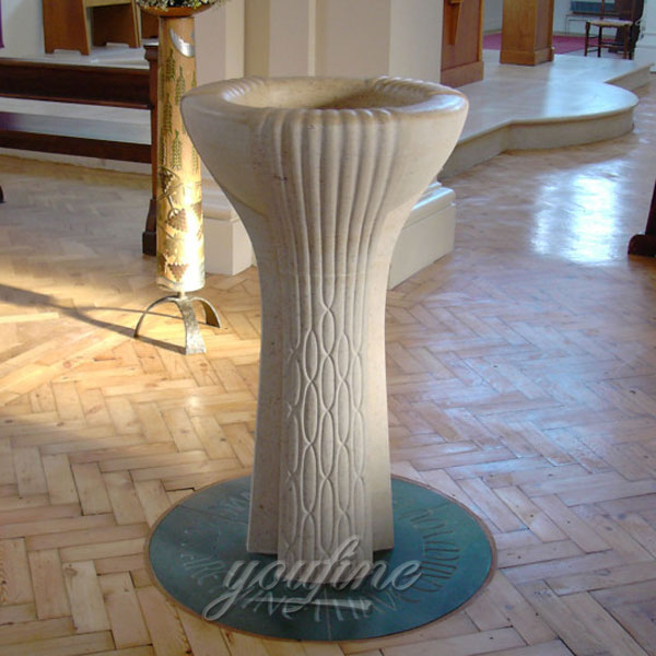Religious statues of white marble holy water font for church