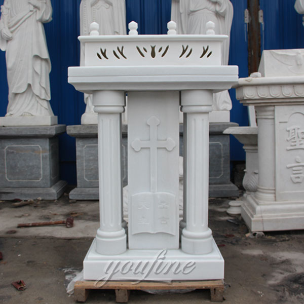 Religious statues of white marble pulpit with cross decor for sale