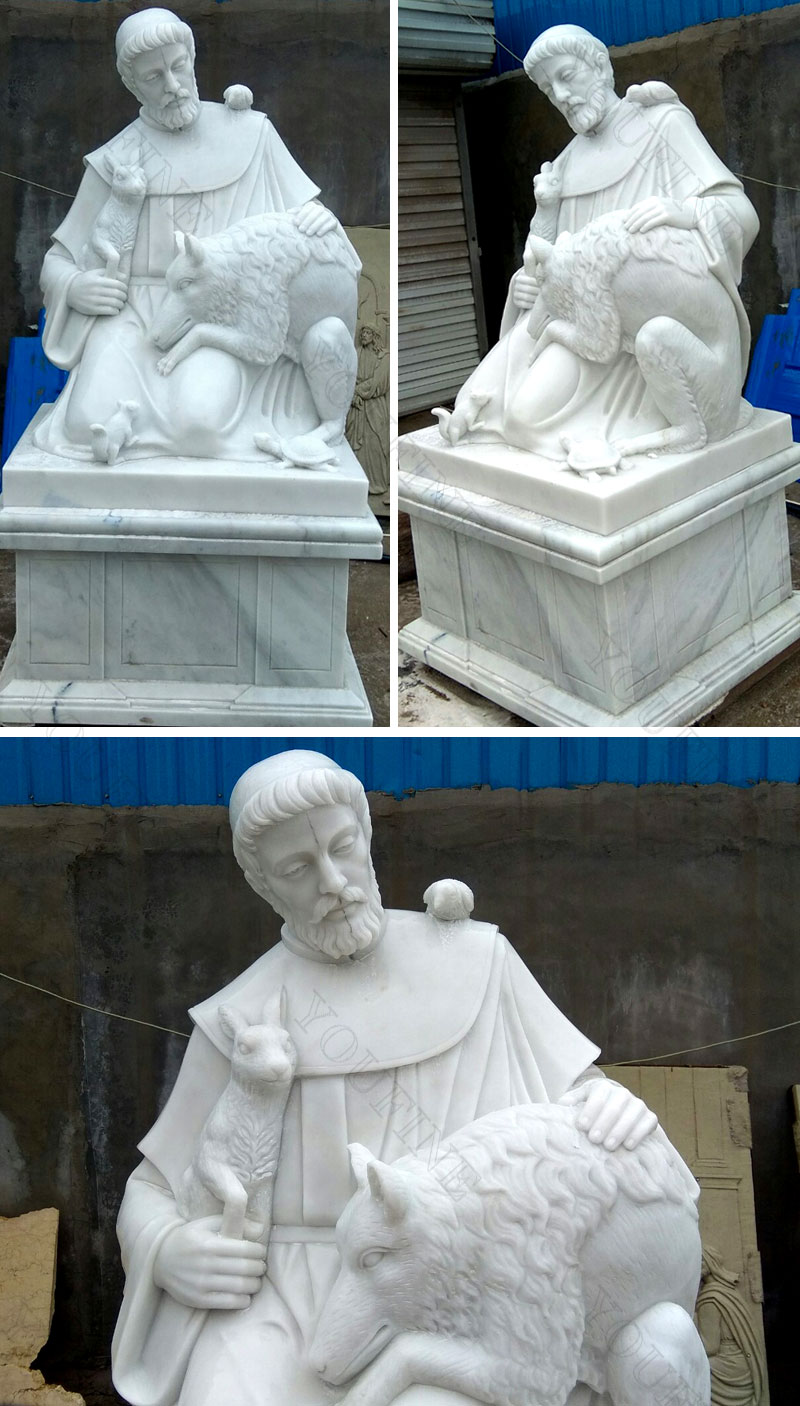 Religious white marble sculptures of St. Francis details