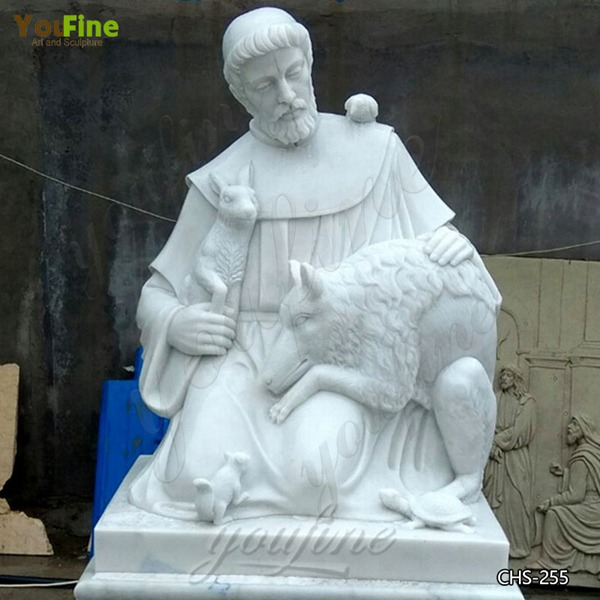 Religious White Marble Sculptures of St. Francis for Sale CHS-255