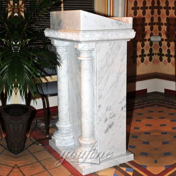 Simple design marble pulpit with columns decor for sale