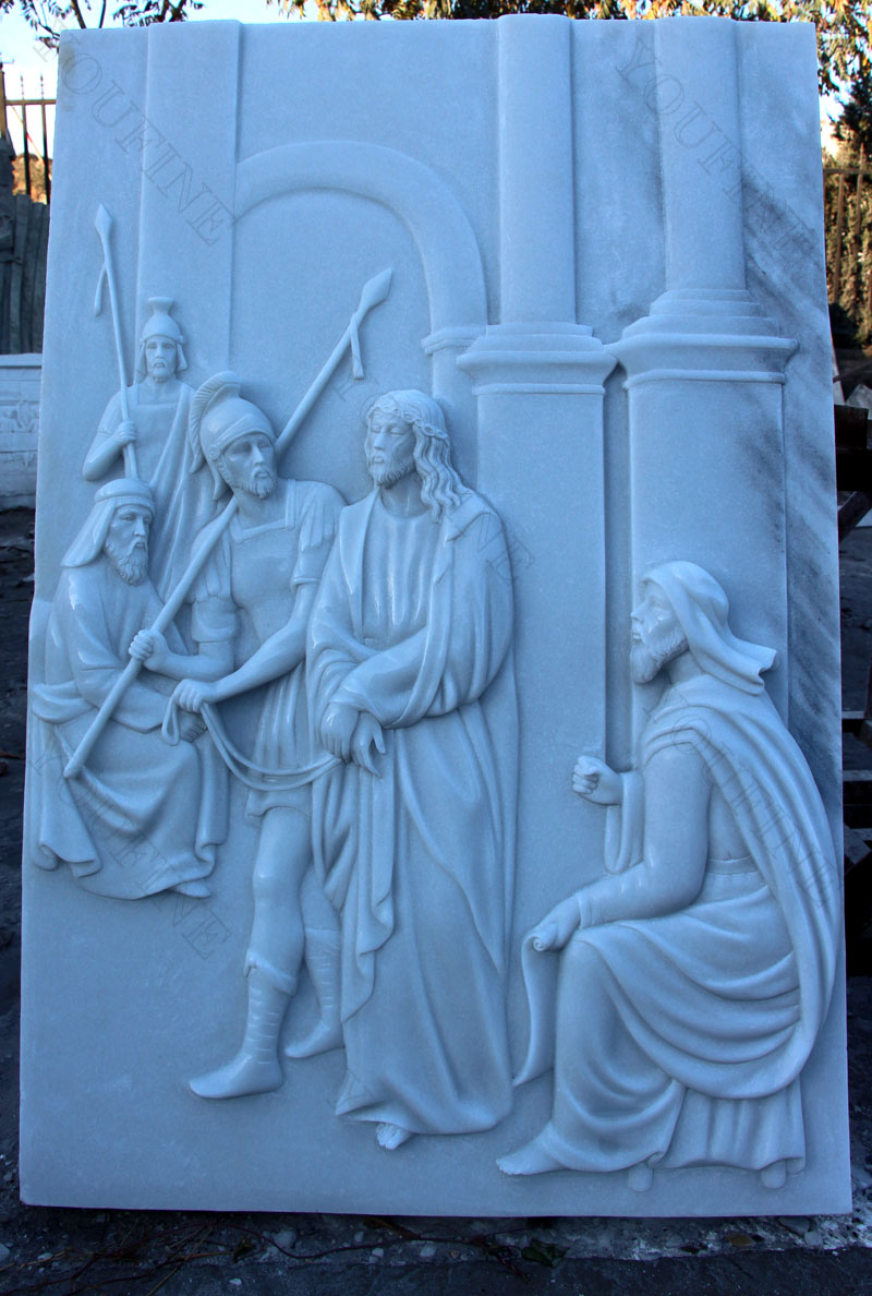 White marble carving religious relief sculptures the stations of the cross for sale designs