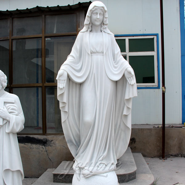 Outdoor religious statues of white marble mother mary for garden on sale
