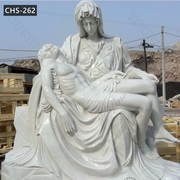 Life Size Marble Pieta Sculpture by Michelangelo The Pity Statue for Sale CHS-262