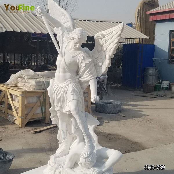 Hand Carved St Michael the Archangel Outdoor Statue Marble Religions Sculptures for Sale CHS-739