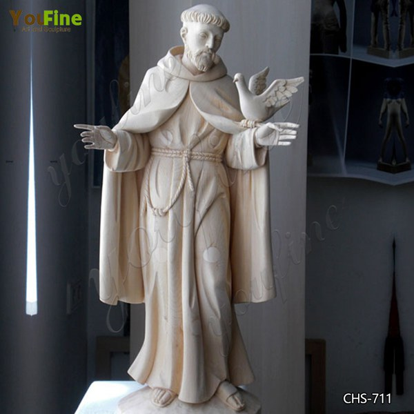Life Size Religious St. Francis Bird Feeder Statue Marble Garden Statue for Sale CHS-711