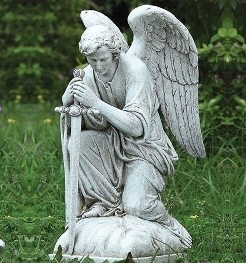 Life Size Saint Michael the Archangel Statue Marble Religious Garden Statue Details