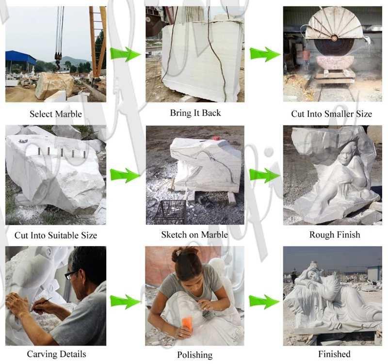Life Size Saint Michael the Archangel Statue Marble Religious Garden Statue Production Process