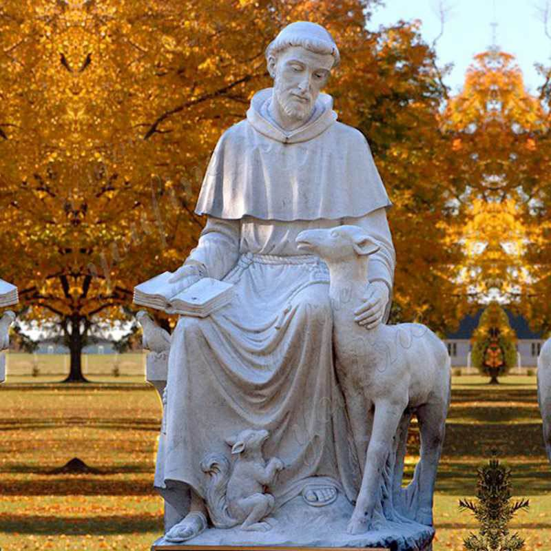 Outdoor Saint Statues St. Francis Garden Sculpture with Animal Design for Sale CHS-709 _