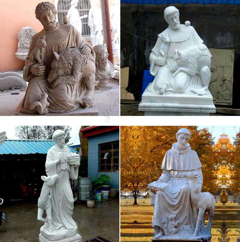 Outdoor Saint Statues St. Francis Garden Sculpture with Animal Other Design