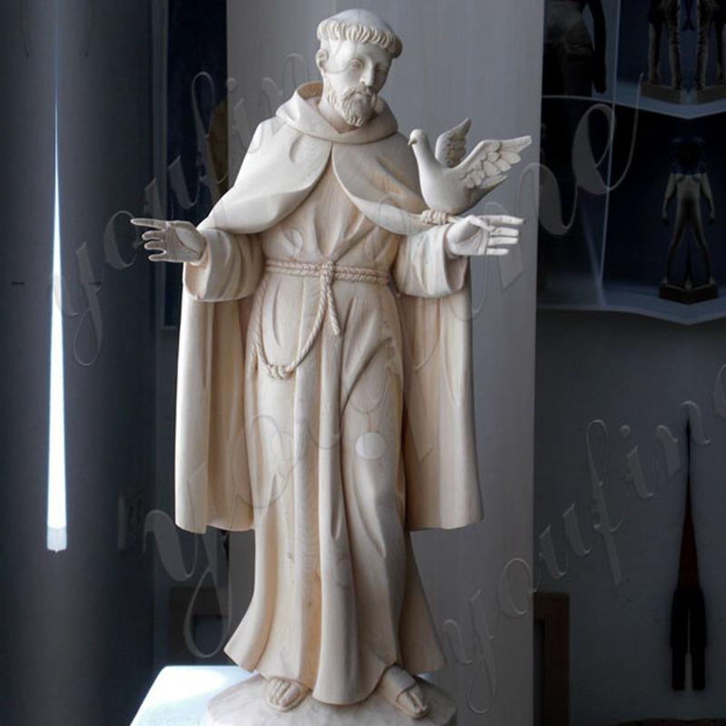 St Francis bird feeder statue details