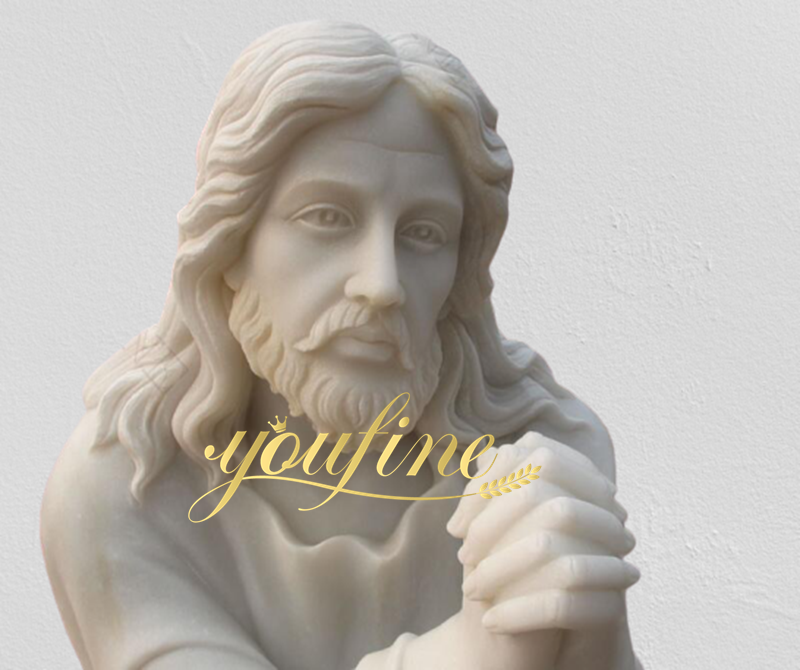 Life Size Religious Marble Jesus Holding Lamp and Bronze Stick Good Shepherd for Sale Carvings