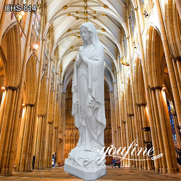 Hand Carved Marble Our Lady of Lourdes Statue for Sale CHS-814