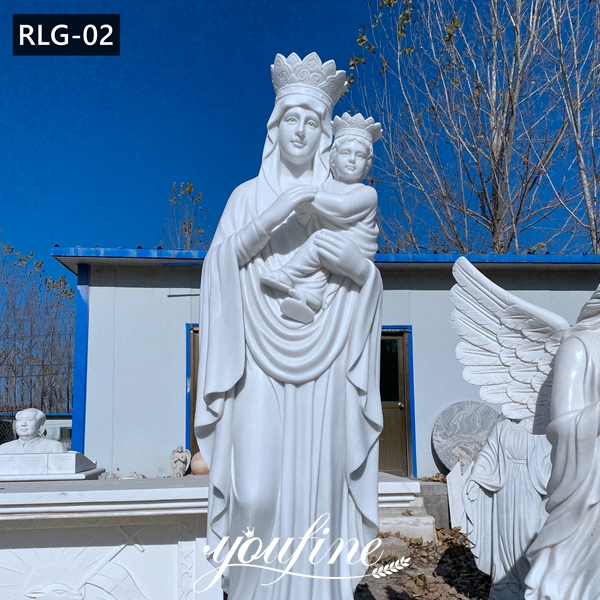 Catholic Marble Mary with Baby Jesus Sculpture for Sale RLG-02