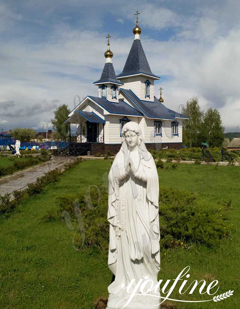 Hand Carved Marble Virgin Mary Statue for American Church Project