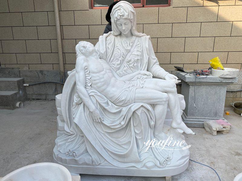 Buy Life Size Pieta White Marble Statue Religious Garden Decor in YouFine