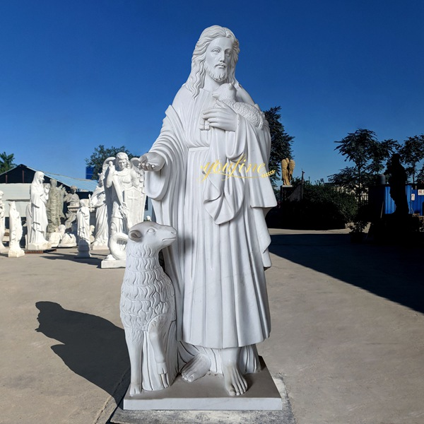 Hand Carved Jesus The Good Shepherd Statue for Sale