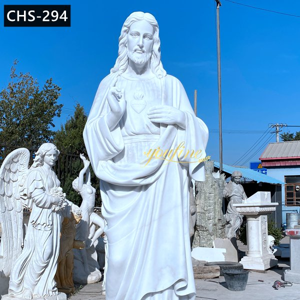 Outdoor Catholic Marble Jesus Statue for Prayer Garden CHS-294