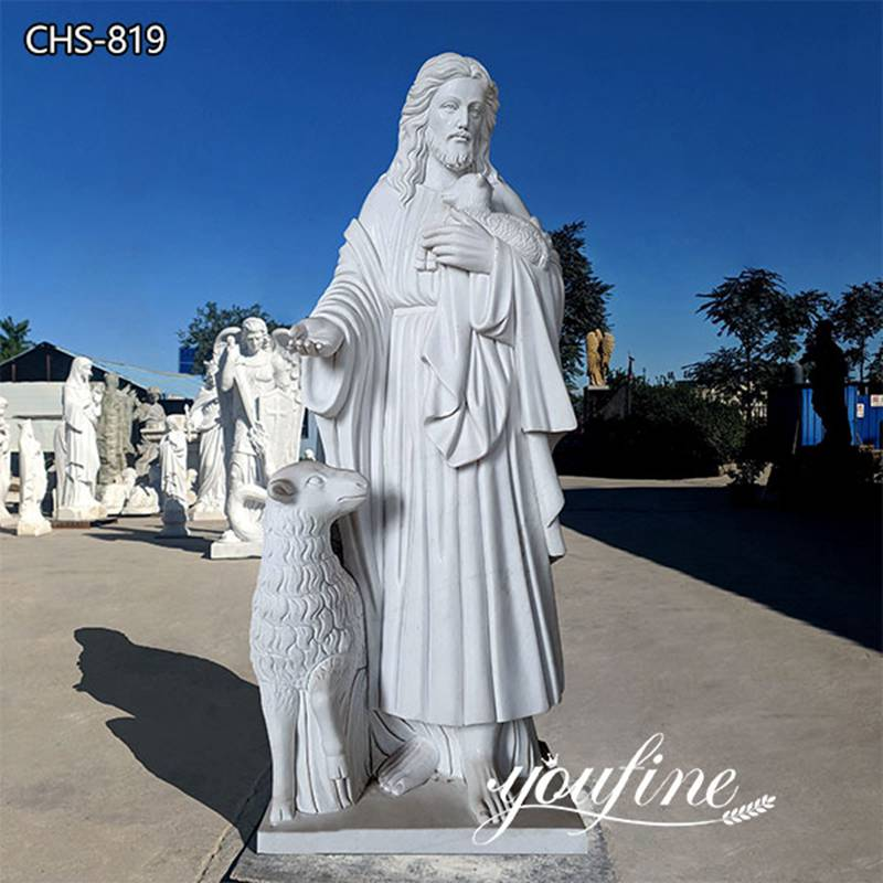 Sacred White Marble Jesus and Lamb Statue for Sale CHS-819