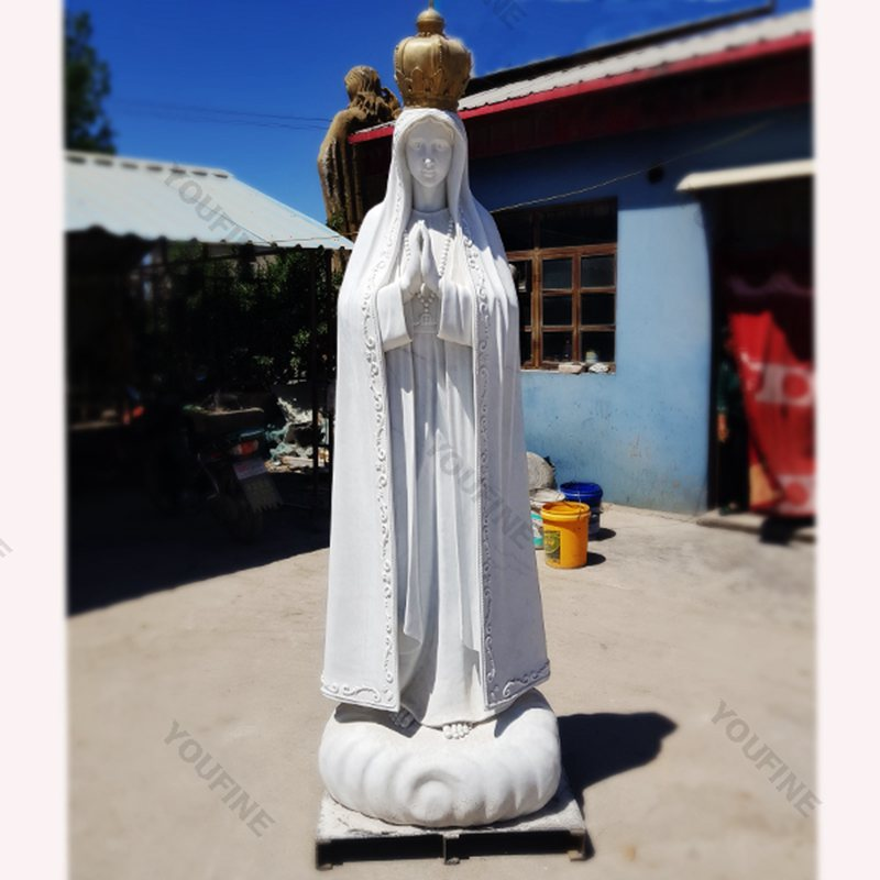 Our Lady of Fatima Statue Marble Sculpture with Crown for Sale CHS-615